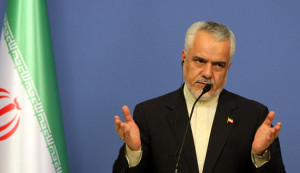 Iran's first vice President Mohammad Reza Rahimi speaks during a press conference with Turkish Prime Minister in Ankara on October 4, 2012.  AFP PHOTO / ADEM ALTAN        (Photo credit should read ADEM ALTAN/AFP/GettyImages)
