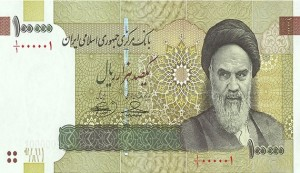 EDITORS' NOTE: Reuters and other foreign media are subject to Iranian restrictions on leaving the office to report, film or take pictures in Tehran.     The front of the new Iranian 100,000 Rials  (about $10) bank note, bearing a picture of Iran's late leader Ayatollah Ruhollah Khomeini, is seen in this handout picture released to Reuters June 22, 2010. REUTERS/ISNA/Handout (IRAN - Tags: BUSINESS) FOR EDITORIAL USE ONLY. NOT FOR SALE FOR MARKETING OR ADVERTISING CAMPAIGNS - RTR2FJQN